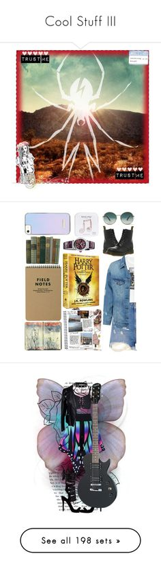 """Cool Stuff III"" by caroline-buster-brown ❤ liked on Polyvore featuring art, contest, set, topic, icon, flowercrownsandsunglasses, TOMS, Dr. Martens, Moleskine and Della"