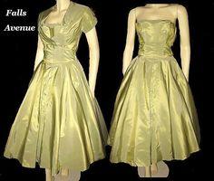 1950s Elegant Vintage Dress Golden Green Taffeta with Matching Bolero from fallsavenue on Ruby Lane