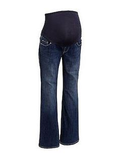 Old Navy's Maternity Full-Panel Flared-Leg Jeans are a cotton-poly blend that is comfy but holds its shape, and the price is certainly right. ($30)