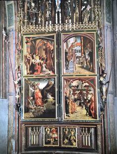 Hochaltar Wallfahrtskirche St. Wolfgang im Salzkammergut, fertiggestellt 1481, Michael Pacher, geschlossen