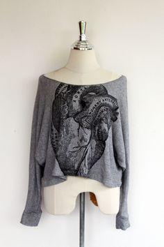 Anatomical Heart sweatshirt -Anatomical Heart screenprinted on Gray pullover bat wing style women long sleeve grey sweatshirt. $23.99, via Etsy.