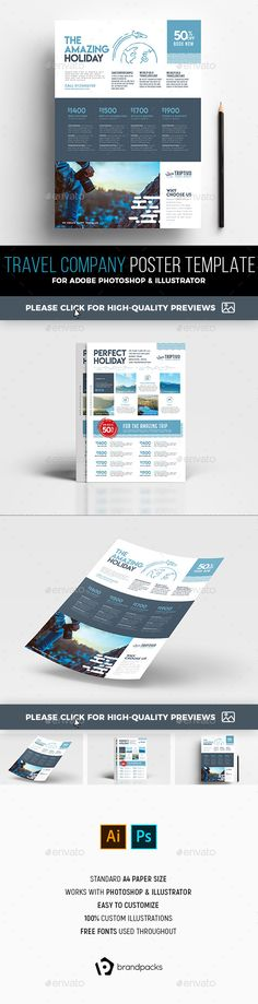#A4 Travel Company Poster/Advertisement Template - #Corporate #Flyers