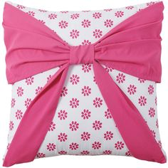 Amanda Bow Throw Pillow ($18) ❤ liked on Polyvore featuring home, home decor, throw pillows, pink, square throw pillows, pink home decor, patterned throw pillows, pink toss pillows and pink throw pillows