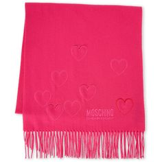 Moschino Cutout Heart Fringe Scarf (445 DKK) ❤ liked on Polyvore featuring accessories, scarves, pink, merino wool shawl, fringe scarves, woven scarves, pink shawl and merino scarves