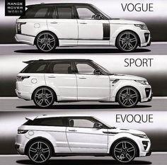 Range Rover Vogue, Sport or Evoque? Pick your Range Rover Lamborghini, Maserati, Bugatti, Ferrari Car, Range Rover Wheels, Range Rover White, Range Rover Evoque, Range Rover Sport, Best Luxury Cars