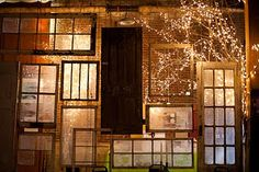 take a bunch of the old windows from T.O. and use a matte modge podge to get a frosted look and string lights behind