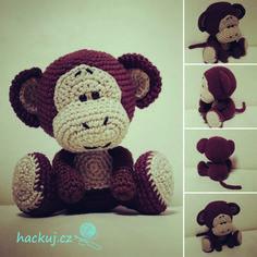 Cute little monkey pattern Monkey Pattern, Cute Monkey, Little Monkeys, Crochet Necklace, Crochet Patterns, Teddy Bear, Toys, Prints, Macrame