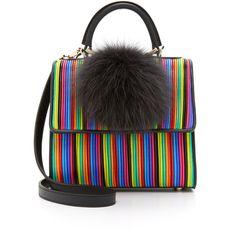 les petit joueurs Mini Alex Bunny Satchel (22,380 MXN) ❤ liked on Polyvore featuring bags, handbags, multi, multi colored purses, satchel purse, colorful handbags, mini handbags and mini purse