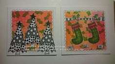Red Kitty B Creates: Dylusions Christmas Cards made with the Ranger Dylusions  new stamp and stencil set out for Christmas 2015.