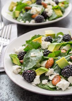 """<p>Baby kale's tender texture paired with sweet blackberries, creamy avocado, and honeyed almonds make this one delicious salad!</p> <p>Get this recipe <a href=""""http://www.tasteloveandnourish.com/2014/03/18/baby-kale-and-blackberry-salad/"""" target=""""_blank"""">here.</a></p>"""