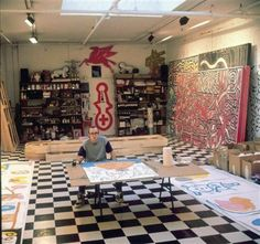 Keith Haring in his studio. Photo credit unknown. Found via Forbes.