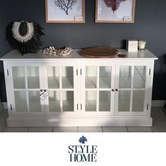 Hamptons White Glass Bookcase Buffet by Style My Home Australia Hamptons Style Decor, Hamptons House, The Hamptons, Glass Sideboard, Glass Bookcase, Hampton Furniture, Styling A Buffet, Home Office Design, Home Decor Styles