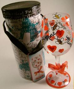 Delish Bee Mine Wine Water Goblet Glass Hand Painted Stemware Hearts Gift Box - FUNsational Finds - 1