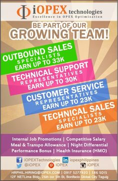 Be part of our growing team now! Send your CV to hrphil.hiring@iopex.com