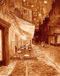 Café Terrace at Night Vincent Van Gogh. The World Through Coffee Paintings. Click the image to see more of Karen Eland's work. Coffee Latte Art, Coffee Logo, Coffee Coffee, Coffee Break, Morning Coffee, Van Gogh, Sidewalk Cafe, Coffee Painting, Coffee Drawing