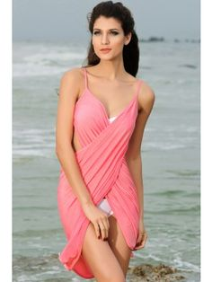 7e7732c205 10 colors Cover-Ups   Beach Dresses Fashion Summer Women 2015 Shoulder  Strap Criss-cross Front Beach Cover-up