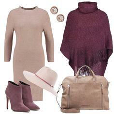 Per questo autunno scelgo l'abito in maglia a sacchetto, manica lunga e collo morbido color taupe chiaro da indossare con tacco alto, mantella color melanzana, cappello e shopping bag.