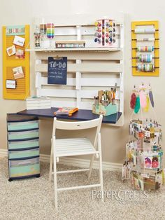 Upcycled craft space by  http://www.papercraftsconnection.com/