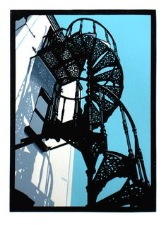 'Spiral Stairs, Aldeburgh Beach' linocut by Graham Spice… Linocut Prints, Art Prints, Block Prints, Linoprint, Silk Screen Printing, Wood Engraving, Painting & Drawing, Encaustic Painting, Woodblock Print
