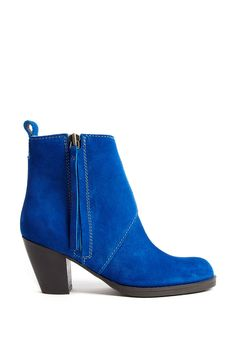 Pistol Shorts Side Zip Suede Ankle Boot by Acne