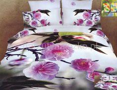 Biała pościel do sypialni w różowe kwiatuszki