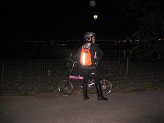 The Traffic Cone Bag's discreet scotchlite strip isn't so discreet by night - thankfully!