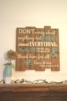 Dont Worry About Anything But Pray About Everything Phillipians 4 Pallet Sign Wood Pallet Sign Inspirational Wall Art Christian Wood Sign - Simple DIY Crafts Wood Pallet Signs, Pallet Art, Wood Pallets, Wooden Signs, Pallet Crafts, Pallet Projects, Wood Crafts, Pallet Ideas, Christian Wall Decor