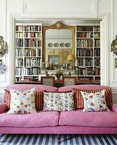 """Blyth-Collinson Interiors on Instagram: """"Pink, plump and perfectly proportioned! This sofa is the perfect place for a Sunday afternoon sleep, don't you think? A poised and elegant…"""" Home Interior, Living Room Interior, Living Room Decor, Living Spaces, Interior Design, Dining Room, Pink Living Rooms, Design Interiors, Kitchen Interior"""