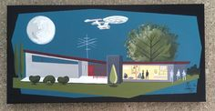 El Gato Gomez Painting Retro Vintage Sci Fi 1960 039 s Star Trek Mid Century Modern   eBay