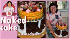 Naked cake com recheio de creme de confeiteiro, doce de abacaxi com coco...