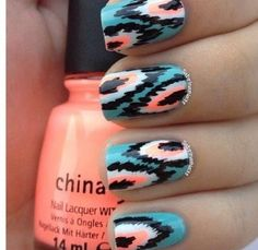 It's almost like tribal nails. Cute Nail Art, Cute Nails, Pretty Nails, Gorgeous Nails, Amazing Nails, Fancy Nails, Tribal Nails, Sexy Nails, Cute Nail Designs