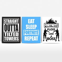 Fortnite Set of 3 Prints Boys Girls Kids Teenage Room Decor