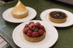 Gluten free lemon meringue, raspberry and chocolate tarts from Boulangerie Chambelland in Paris