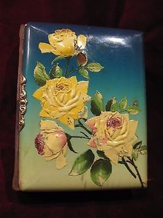 This is an Victorian Era Rare Embossed Dimensional Celluloid / Velvet Cover Photo Album of Yellow and Pink Roses. Good Overall Used Condition: Celluloid Cover has some cracks/chips. Pages have minor tears and minor stains. Victorian Photos, Antique Photos, Vintage Photos, Victorian Era, Photo Album Covers, Cover Photos, Yellow Roses, Pink Roses, Vintage Photo Album