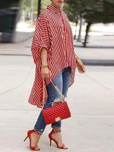 Shop Striped Print Batwing Sleeve Dip Hem Loose Blouse – Discover sexy women fashion at IVRose Trend Fashion, Look Fashion, Womens Fashion, Ladies Fashion, Fashion Ideas, Fashion Images, Fall Fashion, Fashion Usa, American Fashion