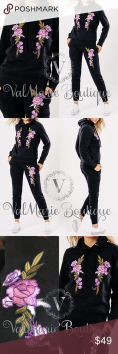 HIGH QUALITY LILAC EMBROIDERED SWEATSUIT SET HIGHEST QUALITY- nice material sweatsuit set with a gorgeous lilac colored floral embroidery is perfect for Fall and Winter. You will fall in love with this! Limited quantities and cannot restock as vendor is already sold out. 65% cotton, 35% polyester. S/M fits 2-6 and L/XL fits 8-12. Feel free to ask for measurements. Pants have drawstring waist tie. Price is absolutely not negotiable as these were very pricey for me to purchase. ValMarie Pants