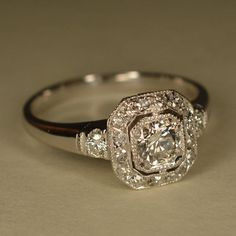 RESERVED: Art Deco Inspired Wedding Ring Platinum by JdotCJewelry