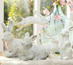 Ceramic Bunnies | Pottery Barn--wooden jumping bunny on stick