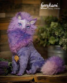 Fantasy purple Cat poseable art doll by Furrykami-creatures.deviantart.com on @DeviantArt
