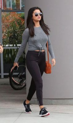 Selena Gomez in tights leaving a gym in West Hollywood in June 2015...