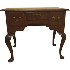 English Queen Anne Chippendale oak lowboy
