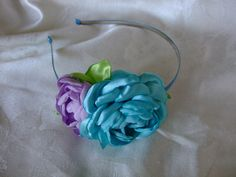 Icy Blue and Lavender Satin Flower Headband by BeadLovinCreations