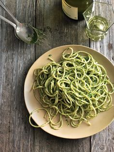 Spaghetti with Arugula & Mint Pesto