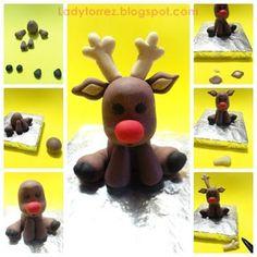 Dulce arte: Idea navidad - Rudolf Para decorar una torta navideña, hecho con pasta de azucar! ladytorrez.blogspot.com