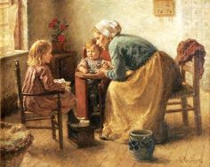 Interior With A Woman And Her Children Baby Painting, Love Painting, Romantic Paintings, Beautiful Paintings, Mother And Child Reunion, Cottage Art, Dutch Painters, Dutch Artists, Cool Artwork