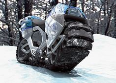 German designers Oliver Keller and Tillman Schlootz designed this concept vehicle called Hyanide for the 2006 Michelin Challenge Design:Named for its supposed resemblance to a crouching hyena, the Hyanide is designed to run on a flexible rubber tread that spans the machine's entire underside. So if any part of the bottom is touching the ground, the Hyanide should be able to move, no matter how deep the quagmire, no matter how rough the terrain. The tank-like tread consists of 77 ide...
