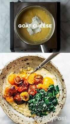 Vegan Polenta Recipes, Veggie Recipes, Vegetarian Recipes, Dinner Recipes, Cooking Recipes, Healthy Recipes, Vegan Dinners, Sin Gluten, Lunches