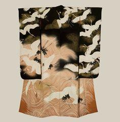 Japan, another flying cranes furisode, yuzen technique, late Meiji period