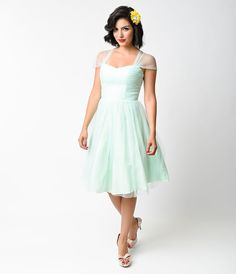 Unique Vintage Mint Green Garden State Mesh Cocktail Dress $128.00 AT vintagedancer.com