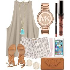 Untitled #696 by jadenriley21 on Polyvore featuring polyvore, fashion, style, H&M, Michael Kors, Billabong, Tory Burch, BaubleBar, Kendra Scott and Splendid